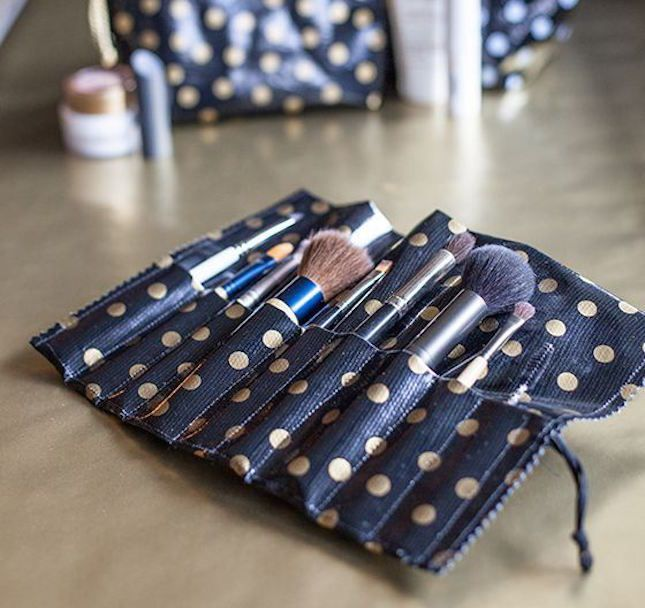 Break out the sewing machine to make a makeup brush roll.