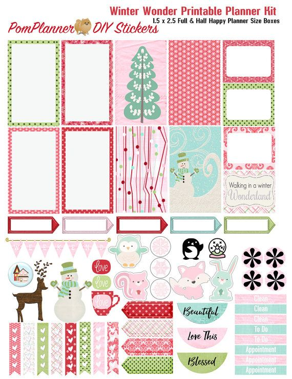 Summer SALE! Winter Wonder Printable Planner Kit 3 PDFs, EC or Happy Planner…