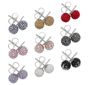 Hillberg & Berk 8mm Sparkle Ball Earrings (Set of 3)