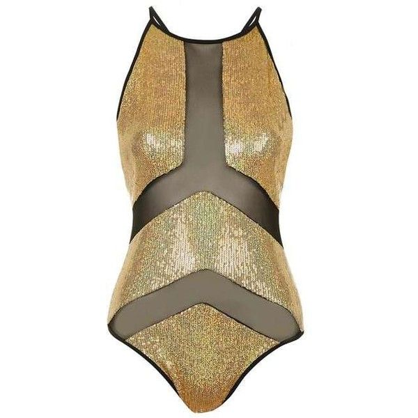 Gold Sequin Panelled Swimsuit by Jaded London ($77) ❤ liked on Polyvore featuring swimwear, one-piece swimsuits, topshop, one piece swimsuit, swimming costumes, high neck swimwear and topshop swimsuit