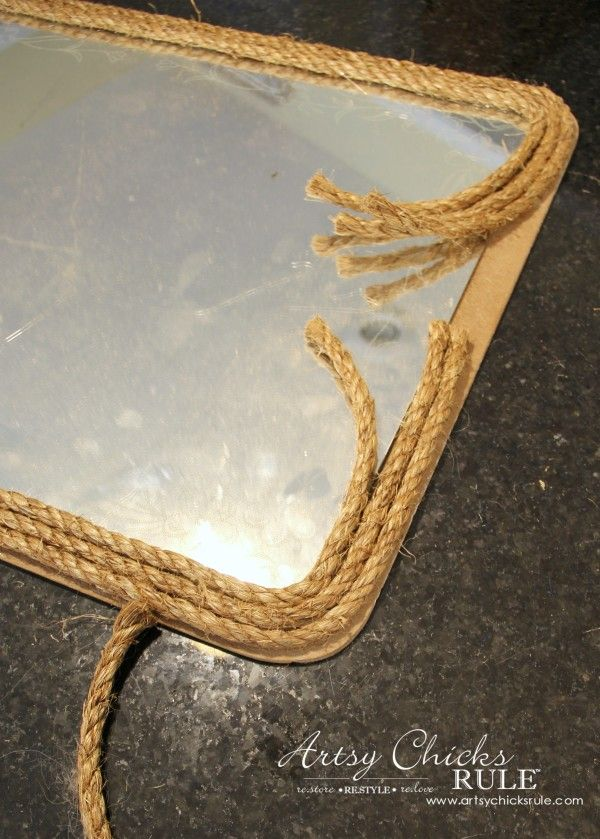 Nautical Rope Mirror - Inspired by Ballard Designs - Wrap Layers of Rope Around - #thrifty #inspiredby artsychicksrule.com
