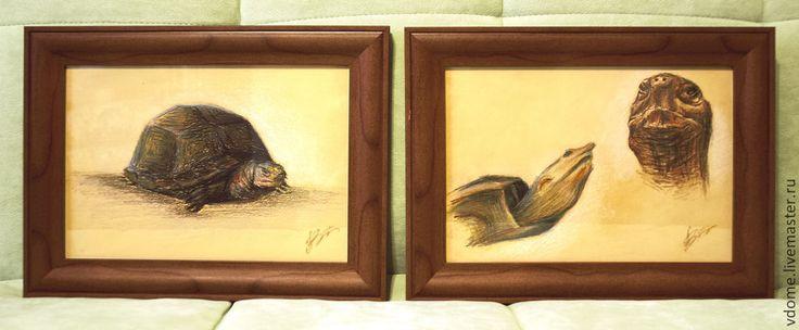Купить диптих графика рисунок картины: черепахи (2 работы) - картина, Диптих, черепаха