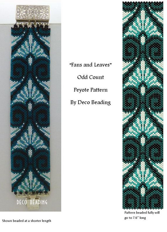 ODD Count Peyote Cuff PATTERN Leaves and Fans by DecoBeading