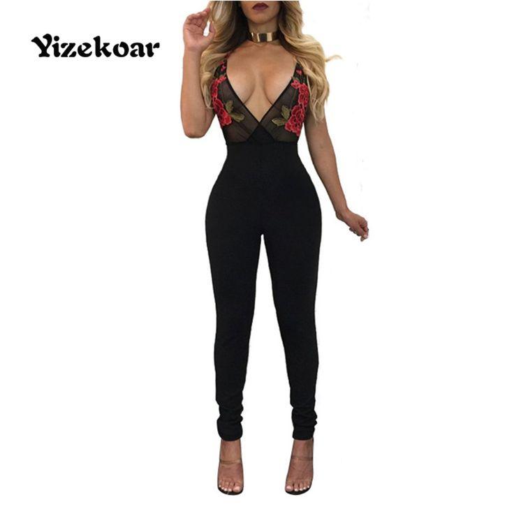 Yizekoar 2017 Casual Vrouwen Sexy Club Jumpsuits romper Zomer Borduurwerk Mouwloze Playsuit bodycon Jumpsuit Zwart Bodysuit #Affiliate