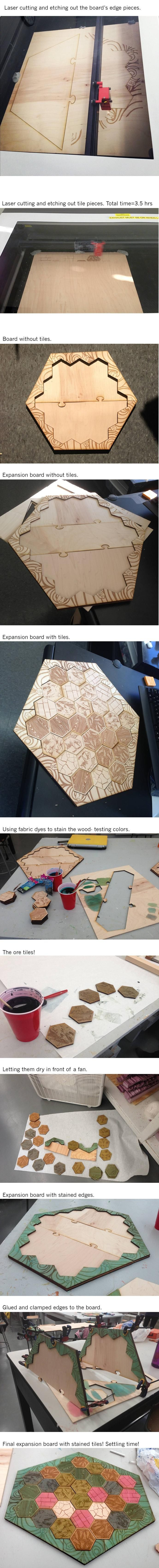 I laser cut and stained a Settlers of Catan board! - Imgur
