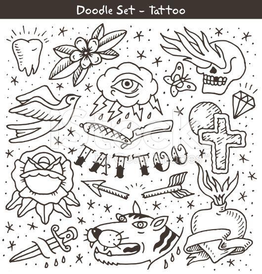 Tatuagem velha escola doodle conjunto - arte vetorial de acervo royalty-free