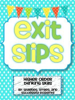 exit slips for ANY GRADE level - great to quickly assess student learning! A variety of fun questions for any subject! $