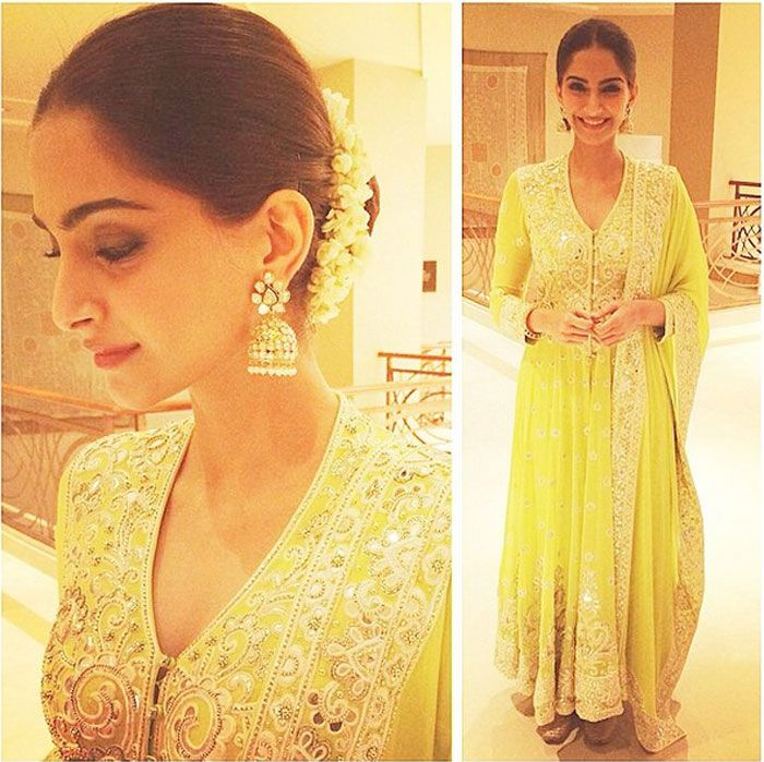 Sonam Kapoor opted for an Abu-Sandeep anarkali for the evening.