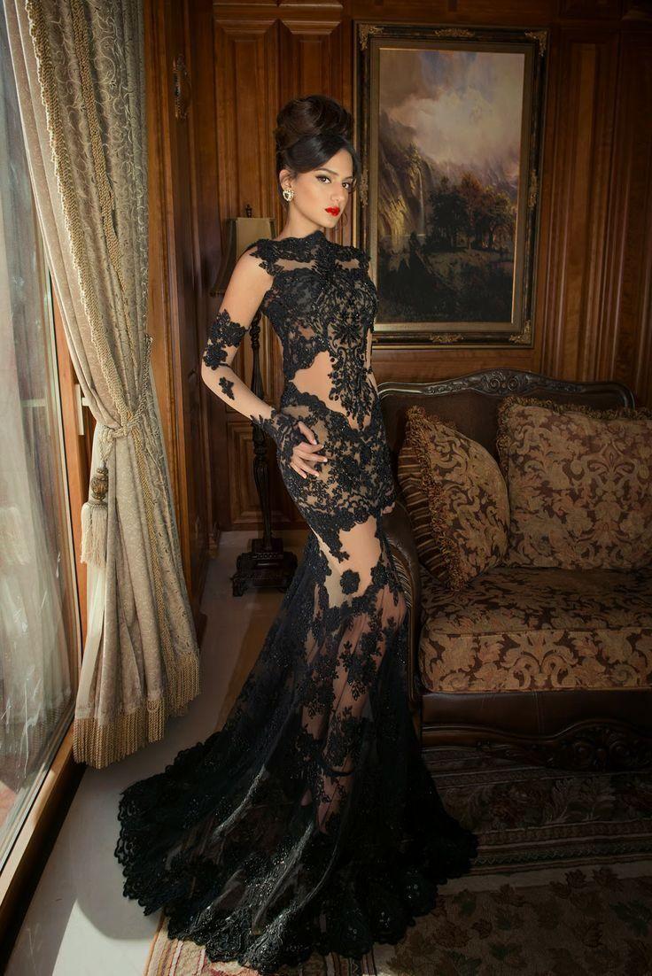 2015 Long Sleeve Prom Dresses Mermaid Sheer Black Lace