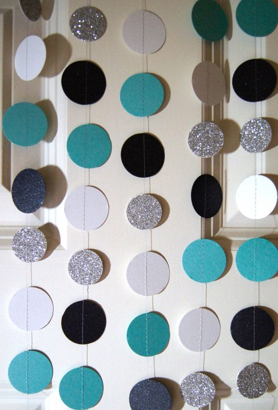 paper garland in teal black white and gold 20 colors it is a boy party bridal shower baby shower party decorations birthday decor