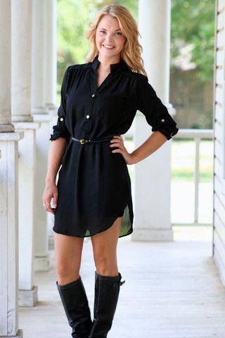 Hazel and olive boutique black shirt dress fashion for Black dress shirt outfit