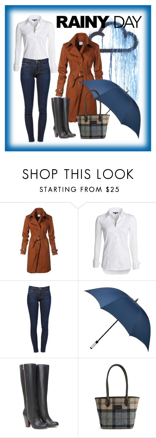 """""""Rainy Day"""" by mrseclipse ❤ liked on Polyvore featuring NIC+ZOE, Frame Denim, Target, Bebe, Barbour and rainydaystyle"""