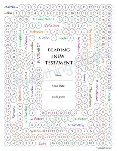 LDS Gospel Freebie New Testament Reading Chart