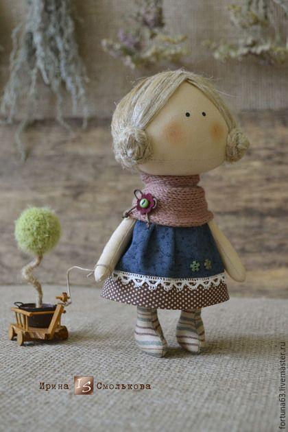 Коллекционные куклы ручной работы. Ярмарка Мастеров - ручная работа. Купить текстильная куколка-малышка. Handmade. Темно-синий