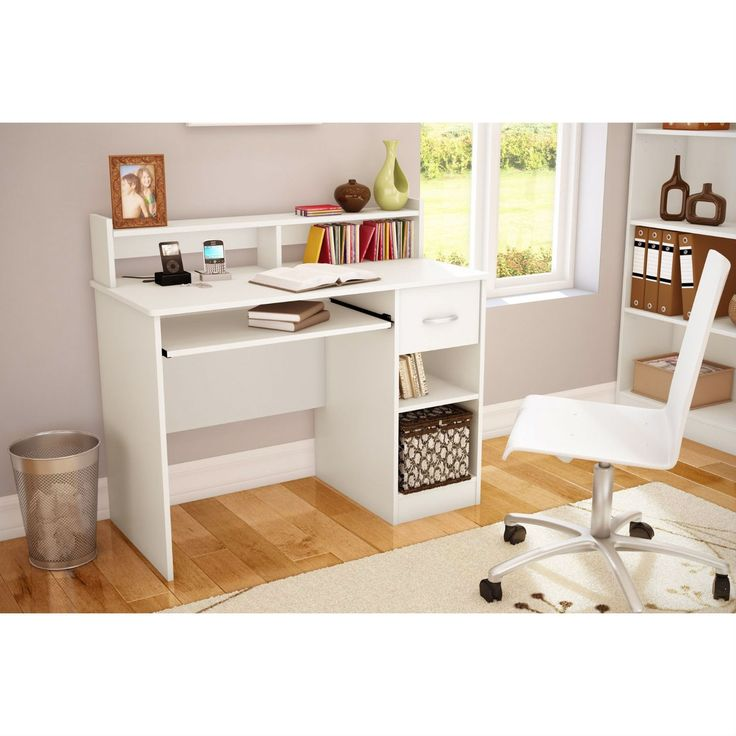 home office computer desk in white wood finish