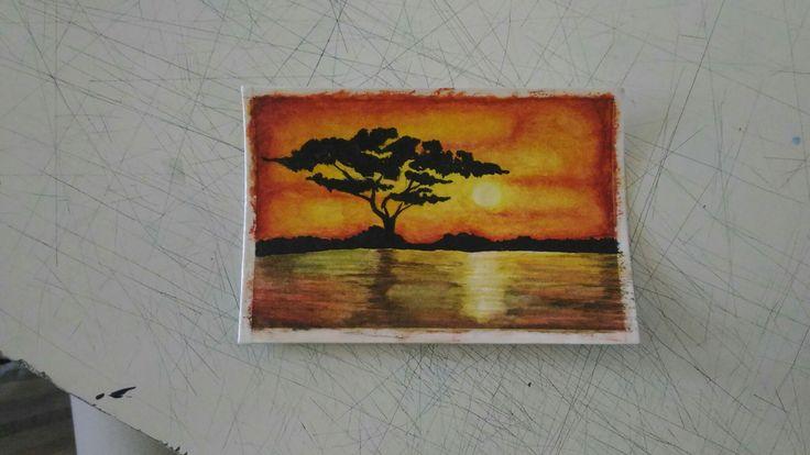 Sunset #watercolors#4hours#workhard#help#savannah