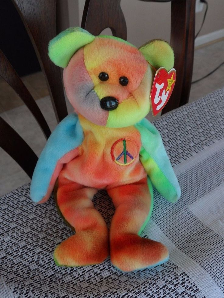 Ty Original Beanie Baby PEACE Bear VERY RARE TYE DYE COLORS No Tag Errors  | Toys & Hobbies, Beanbag Plush, Ty | eBay!