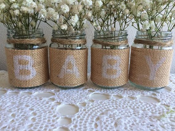 Rustic Baby Shower Jars Burlap & Twine by PeachyBeeAustralia