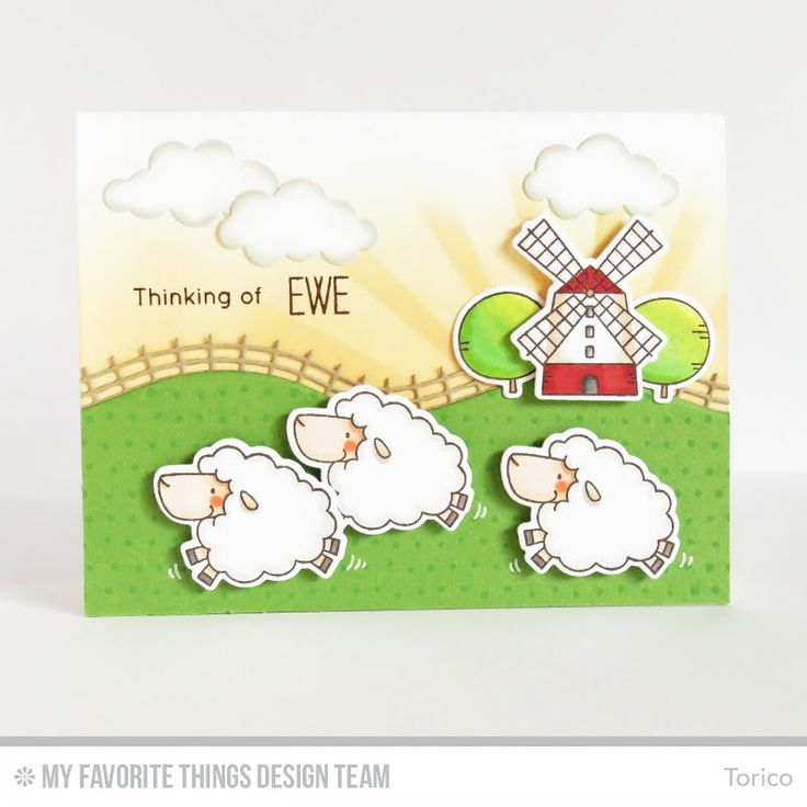 Ewe Are the Best, Myriad Dot Background, Ewe Are the Best Die-namics, Puffy Clouds Die-namics, Rolling Hills Die-namics, Sun Ray Stencil - Torico  #mftstamps: