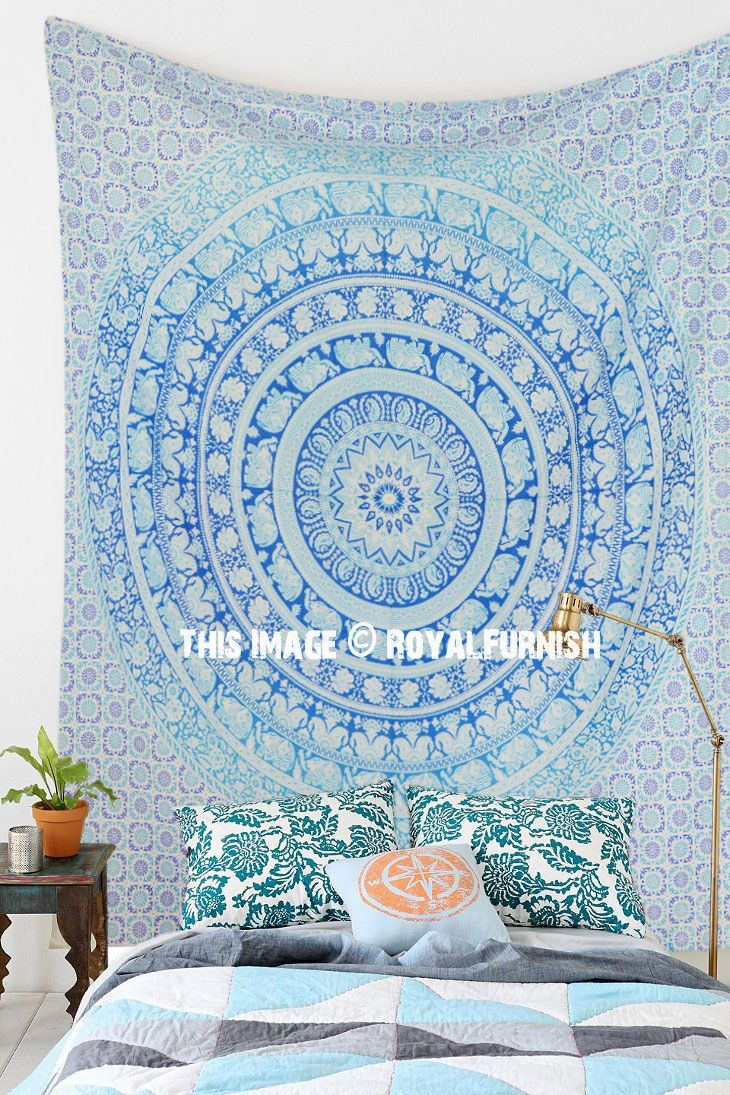 Blue multi elephants sun ombre mandala wall tapestry royalfurnish - Queen Multicolor Ombre Elephant Boho Mandala Hippie Tapestry Royalfurnish Com