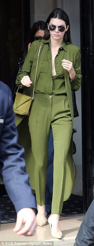 Kendall Jenner is top-to-toe in green at PFW #dailymail