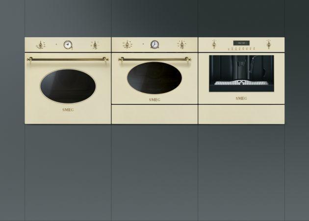 Cool Elektroger te Back fen Mikrowelle und Kaffeevollautomat mit antik Design