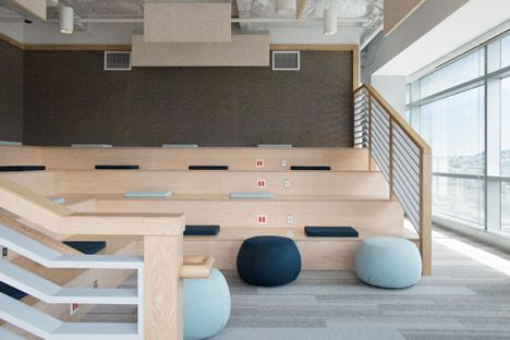 Eventbrite offices by Rapt Studio contain stadium seating and hammocks