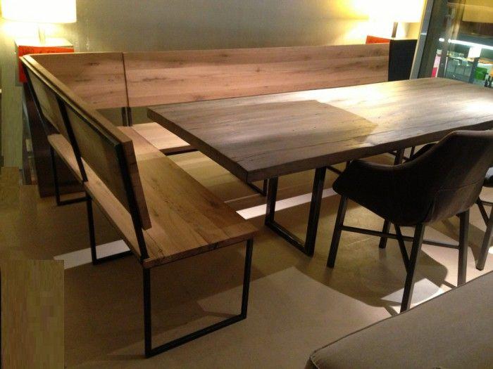 Industrieel oud eiken hout met eetbank in staal en hout material hard en gebruikt voor de - Buffeteetkamer ontwerp ...