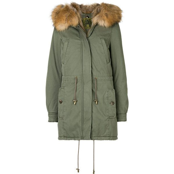 Alessandra Chamonix fur hooded parka ($944) ❤ liked on Polyvore featuring outerwear, coats, green, fur hood parka, parka coats, fur coat, green coats and fur parka coat