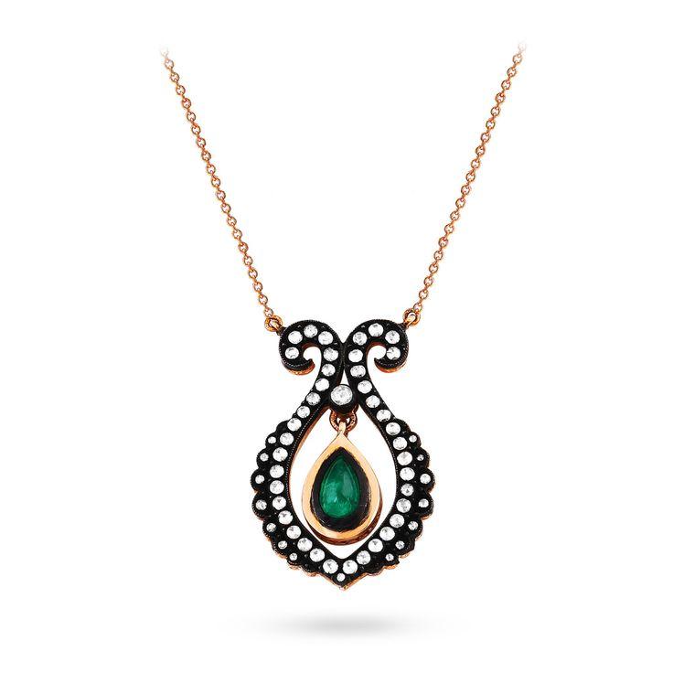 Ottoman style Rosecut necklace #diamond #gold #emerald #rosecutdiamond #kaftanjewellery #istanbul www.kaftanelmas.com
