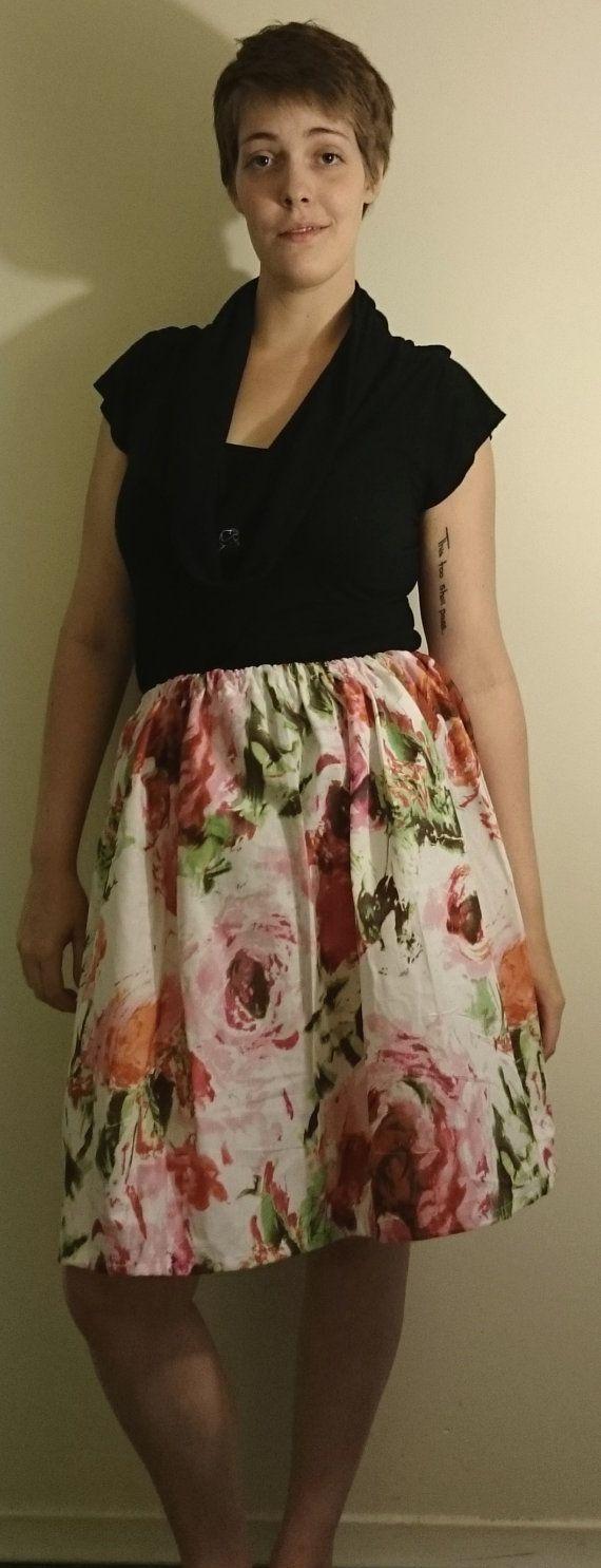 "Floral Elastic Waistband Cotton Skirt - $20.00 100% Cotton Fits Waists 30""-36"""