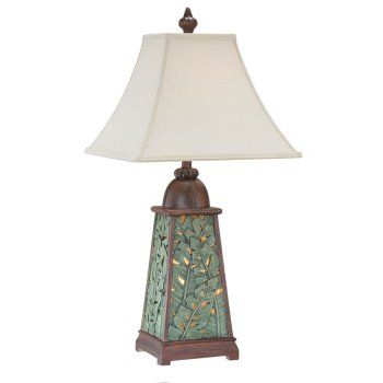 """<span style=""""font-weight: bold;"""">Tropical Leaf</span>surround this lamp base with opening for the light light to shine through. This lamp is perfect for a elegant tropical themed room. <br /><br /> Lamp Measures 30"""" Tall <br /> Shade Measures 6.5+6.5 x 15/15 x 11.5 inches"""