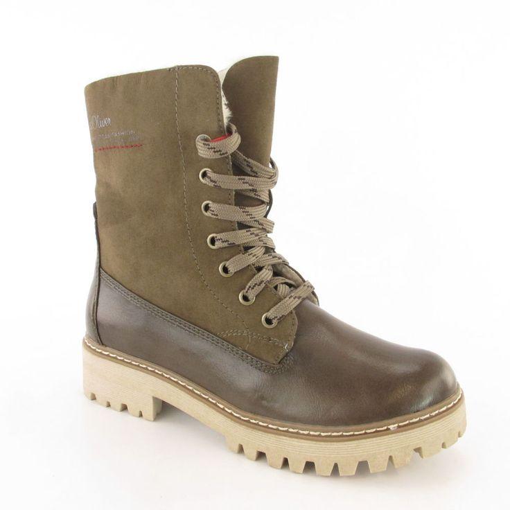 S oliver red label boots khaki gr.39 damenschuhe schnürstiefel winterboots  neu