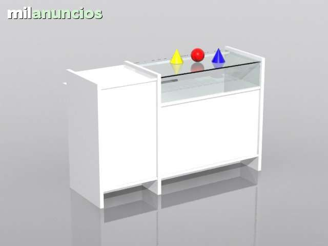 . Mostrador mixto para tienda con vitrina y punto caja de 1500