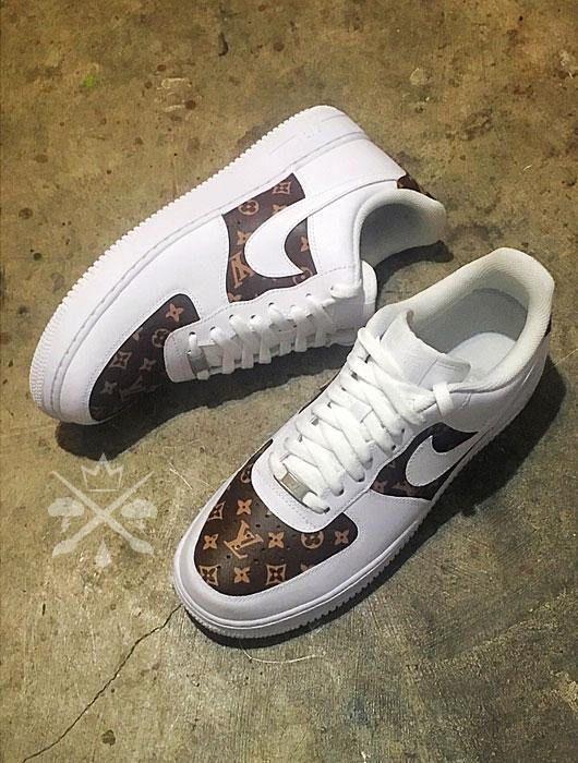 online store 79a1c 10902 Nike Louis Vuitton LV Air Force 1 One Low top Luxury Designer Custom Men s  White Sneaker