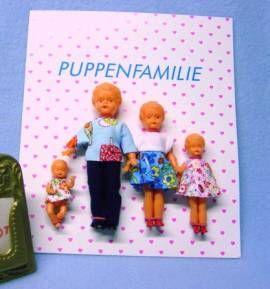 Puppenstubenpuppen Puppenstuben Puppen 4-köpfige Puppen Familie Puppen Haus von Emil Schwenk - Bild vergrößern