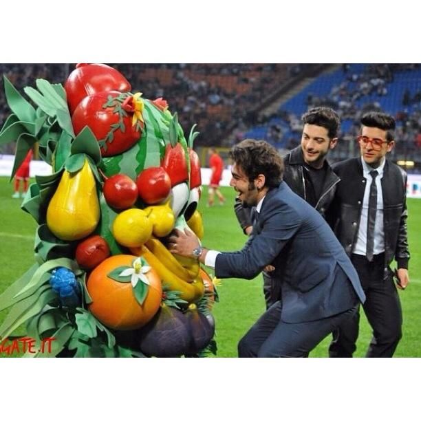 Ignazio at the Match with some large fruits and veggies!!