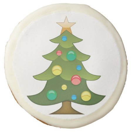 Christmas Tree Emoji Sugar Cookie