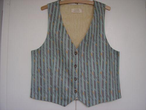 "Aqua/Grey Striped Ladies Waistcoat 34"" - 36"""