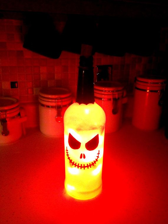 Up-cycled, Hand Painted, Glass Bottle Halloween Lanterns @Shundra Cheeks another project for us ;)