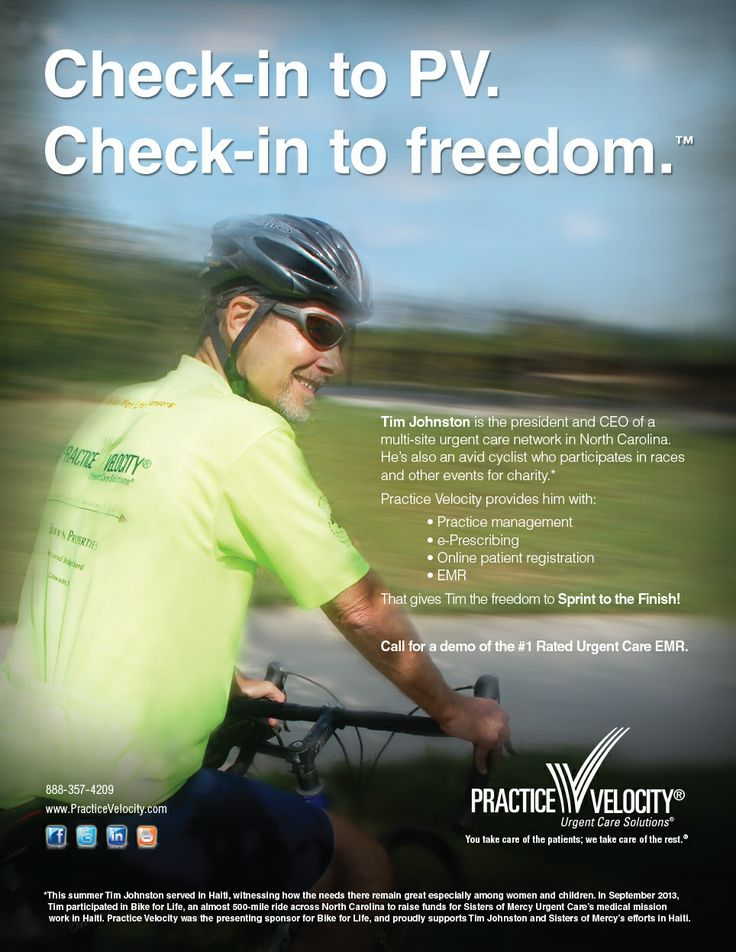 Practice Velocity ad for October 2013 features Tim Johnston of Sisters of Mercy Urgent Care.