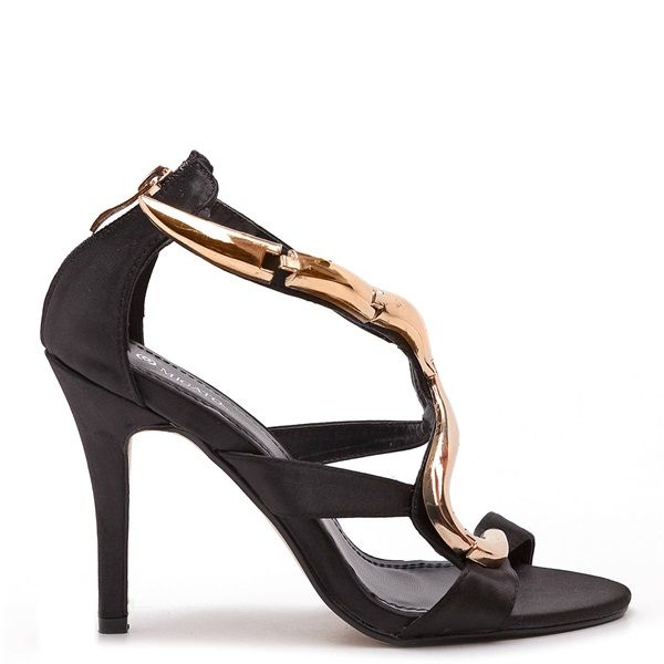 Satin style black sandals with gold-tone curved metallic detail.