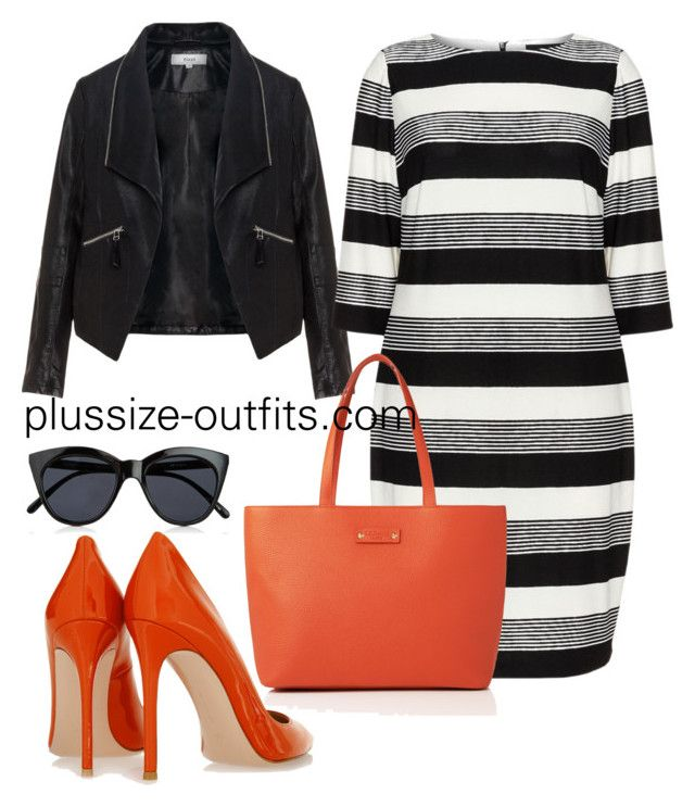 plus size orange by xwtiko on Polyvore featuring Carmakoma, Zizzi, Gianvito Rossi, L.K.Bennett and Le Specs