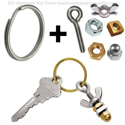 "BUY or DIY: $20 ""I'm Nuts About You"" Key Chain from Uncommon Goods (bottom photo). Use a key ring, wingnut, hex nuts, square nuts, eyebolt (screw eye hook) and a cap - pictured above. for DIY gifts for men (including the booze bouquet, Boozy Bacon Jam, Band Tee Mashup) go here: truebluemeandyou.tumblr.com/tagged/manly-gifts"