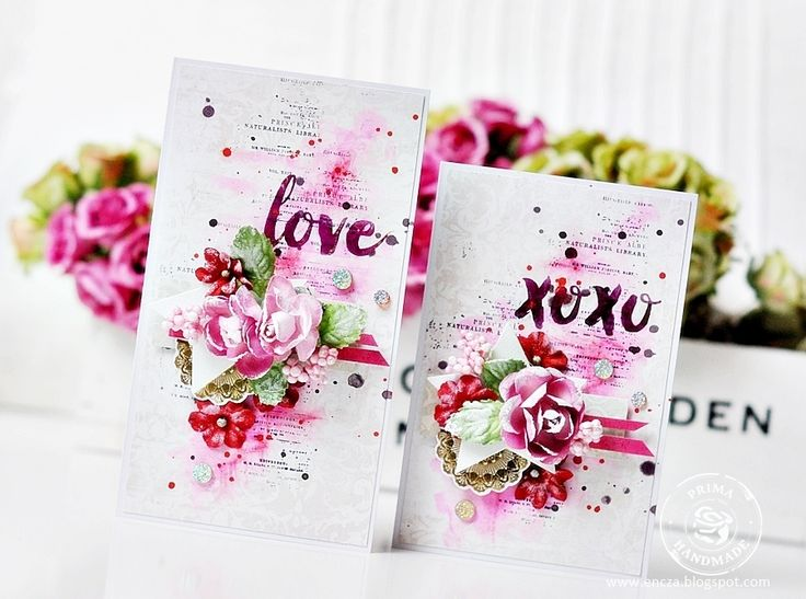 Walentynkowe inspiracje dla Prima Marketing . Do wykonania kartek użyłam między innymi nowych Rub-onsów oraz różowej folii. Tło kartek m...