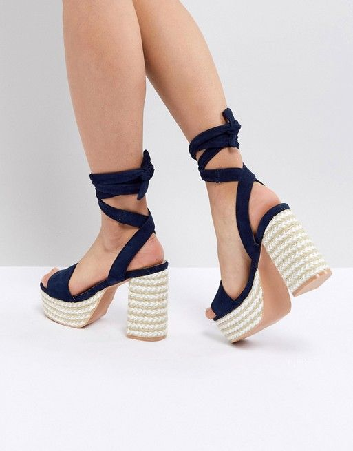 e4f7fa99d Lost Ink Navy Espadrille Platform Heeled Sandals | High Heels and Watches  to Match | Navy espadrilles, Espadrilles, Sandals