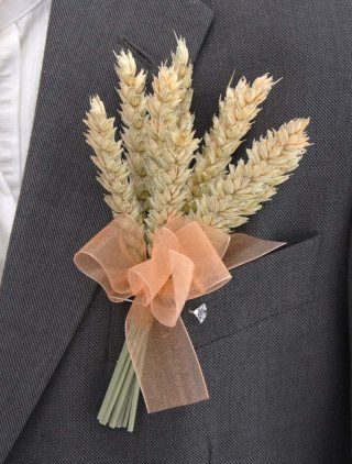 sunflower wheat bouquet | Grooms Natural Dried Wheat Wedding Day Buttonhole with Gold Ribbon Bow ...