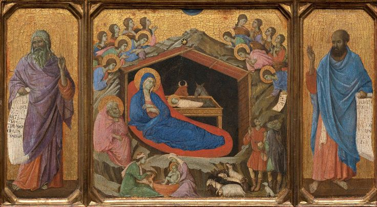 Duccio di Buoninsegna (Sienese, c. 1255-1319) Maestà: Nativity between Prophets Isaiah and Ezekiel (c. 1308-11) Tempera on wood, 48 x 87 cm. National Gallery, Washington DC