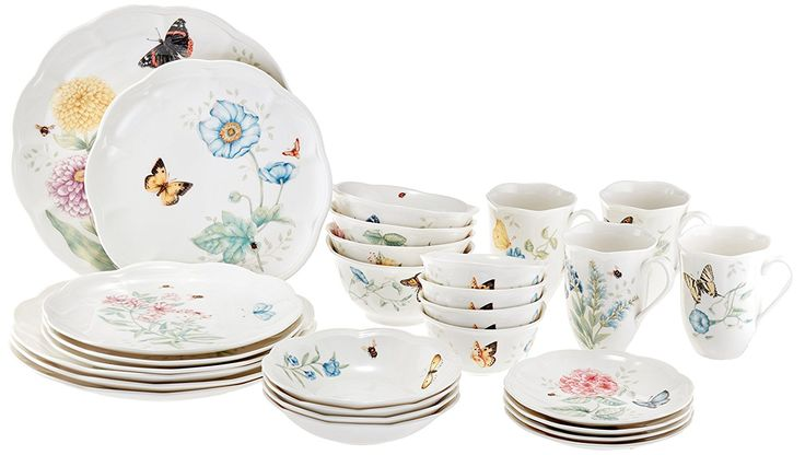 "Lenox 28 Piece Butterfly Meadow  Made of chip-safe Lenox white porcelain  Cooler to-broiler to table execution, dishwasher and microwave safe  Florals and butterflies rendered in impeccable hues decorate each scalloped piece  Set incorporates: Four 11"" supper plates, four 9"" serving of mixed greens plates, four 6-3/4"" natural product dishes, four 6"" party plates, four 12-oz mugs, four 16-oz dishes, and four 12-oz dessert bowls  You can look here and buy."