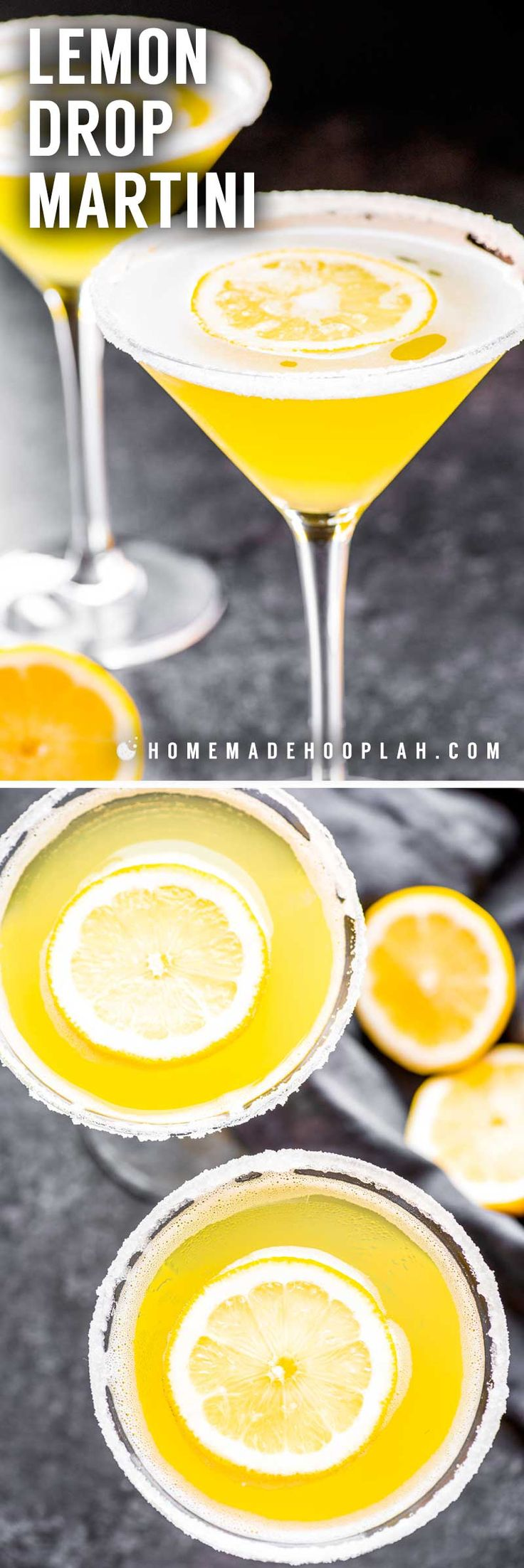 Lemon Drop Martini! A deliciously sweet lemon martini made with limoncello, vodka, sweet and sour mix, and a dash of lemon. Dress it up with lemon-flavored sugar along the rim! | HomemadeHooplah.com